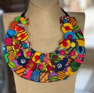 Ankara Button Necklace